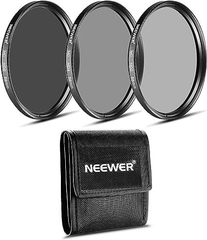 Neewer Juego de Filtros Profesional de Fotografía de Densidad Neutra de 58MM (ND2 ND4 ND8) para Lente de Zoom CANON 18-55mm EF-S IS STM