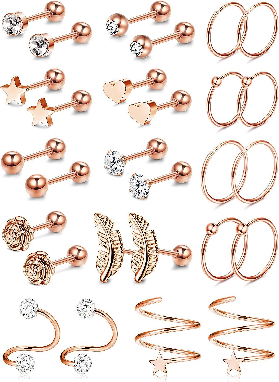 CASSIECA 14 Pairs Stainless Steel Helix Hoop Stud Earrings Tragus Cubic Zirconia Inlaid Earrings Cartilage Barbell Piercing Jewelry for Men Women