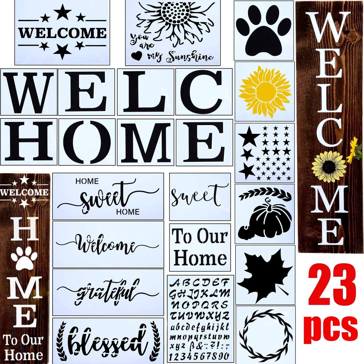 23pcs Welcome Stencil for Painting on Wood,Home Sign Stencils Reusable Porch Sign and Front Door Vertical Welcome Comes with Stencil-Sunflower,Dog Paw Stencil and orther Pattern