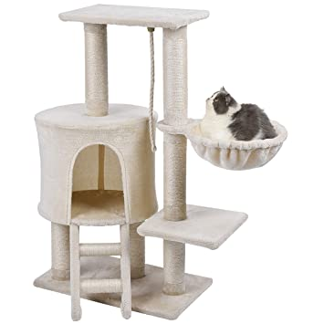 Wellhome Arbol para Gatos Escalador para Gatos Sisal Cubierto Rascador para Gatos con Hamaca y Plataforma de Perchas 96cm Beige