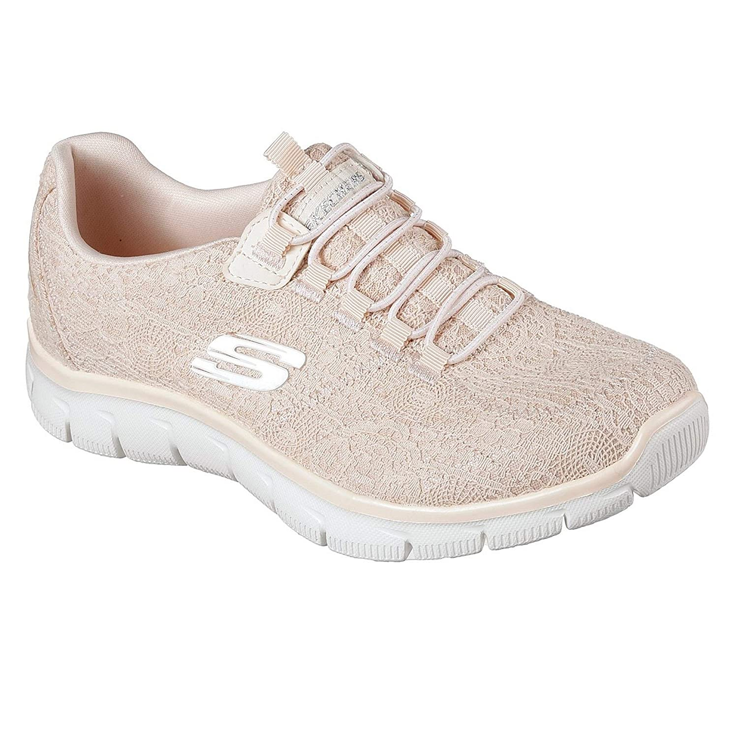 Details zu Skechers NEW Empire Spring Glow peach lace comfort slip on trainers sizes 3 8