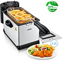 Aicok Deep Fat Fryer 3L, Stainless Steel Oil Fryer with Timer and Temperature Control, Viewing Window, 2000W, Silver