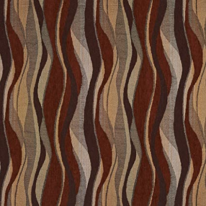 Amazon Com F531 Red Gold And Grey Abstract Striped Chenille
