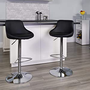 Flash Furniture 2 Pk. Contemporary Black Vinyl Bucket Seat Adjustable Height Barstool with Chrome Base