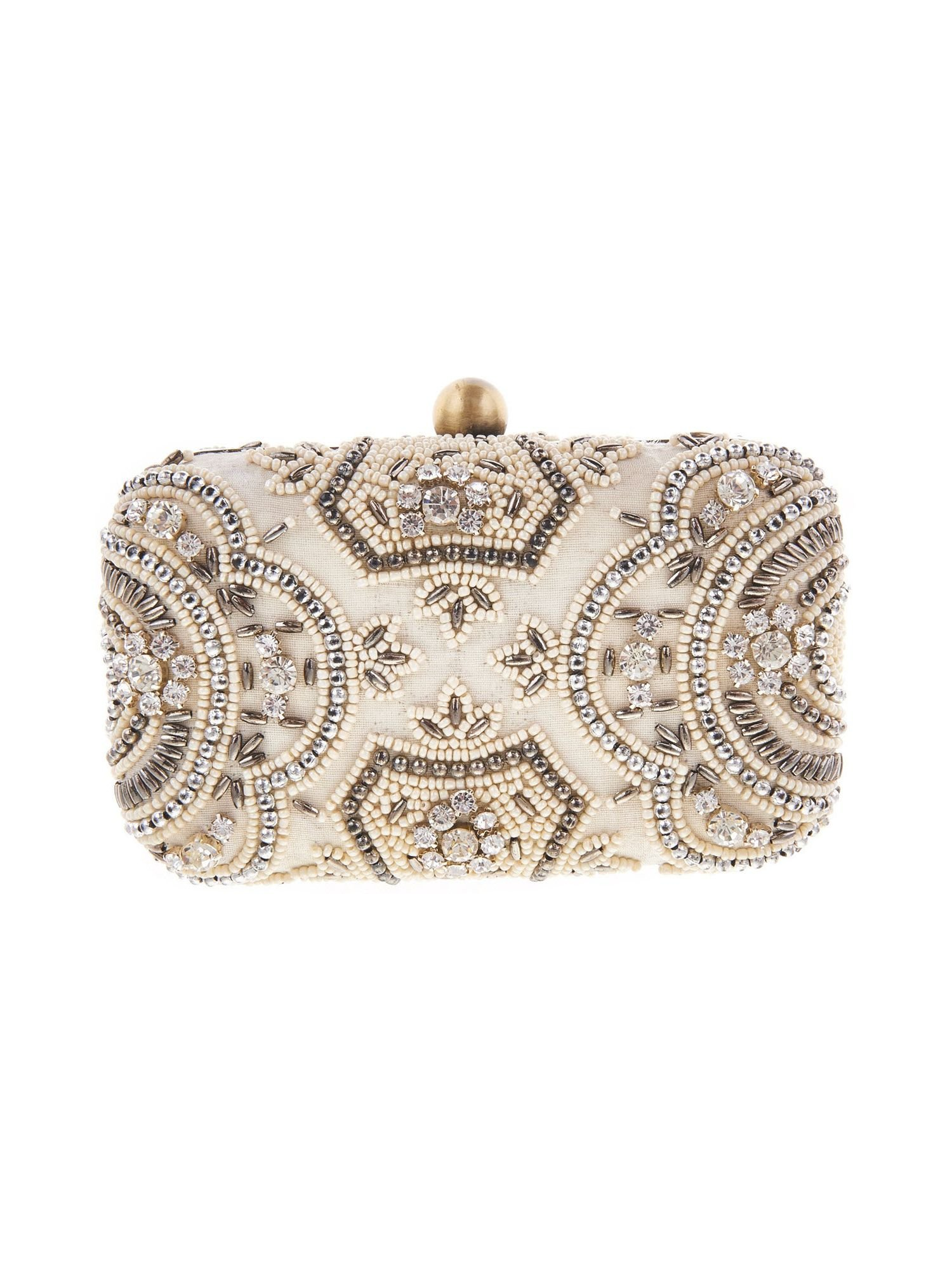 From St Xavier Zoey Bridal Beaded Box Clutch, Ivory