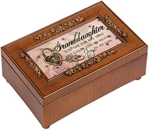 Cottage Garden Granddaughter Woodgrain Traditional Music Box Plays You Light Up My Life