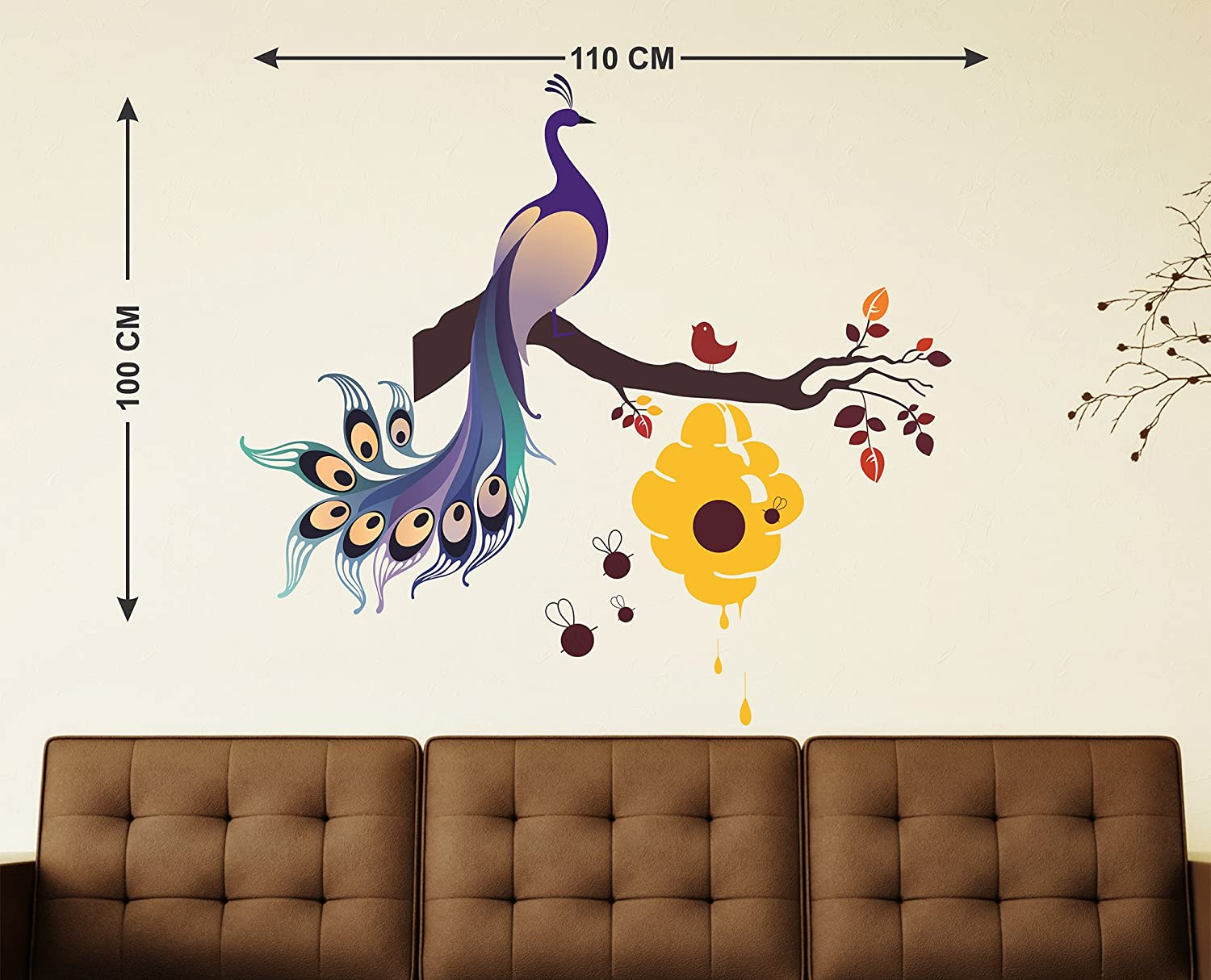 ea7cd595db1 Buy Decals Design Wall Sticker  King Of Birds Peacock On Branch With Honey  Bees Hive  Online at Low Prices in India - Amazon.in