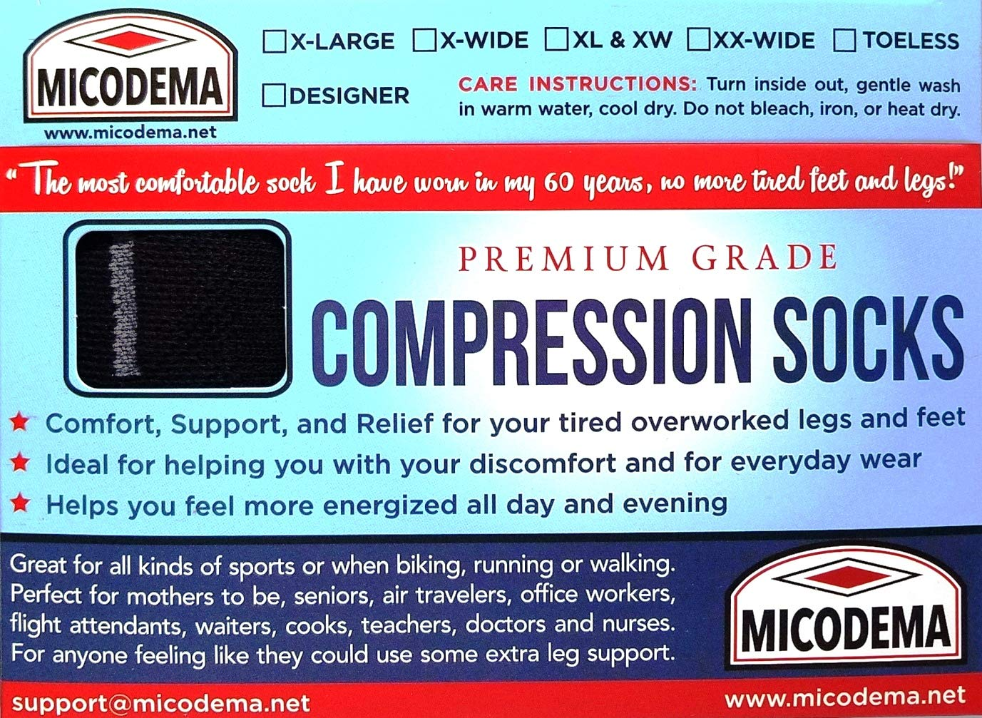 MICODEMA Compression Socks Wide Calf - for Thick Calves with Ankle and Arch  Support | Firm Gradient