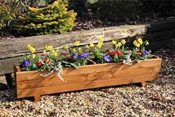 Tom Chambers   Wooden Harlow Planter WP004   Garden Patio Pot Planter Trough