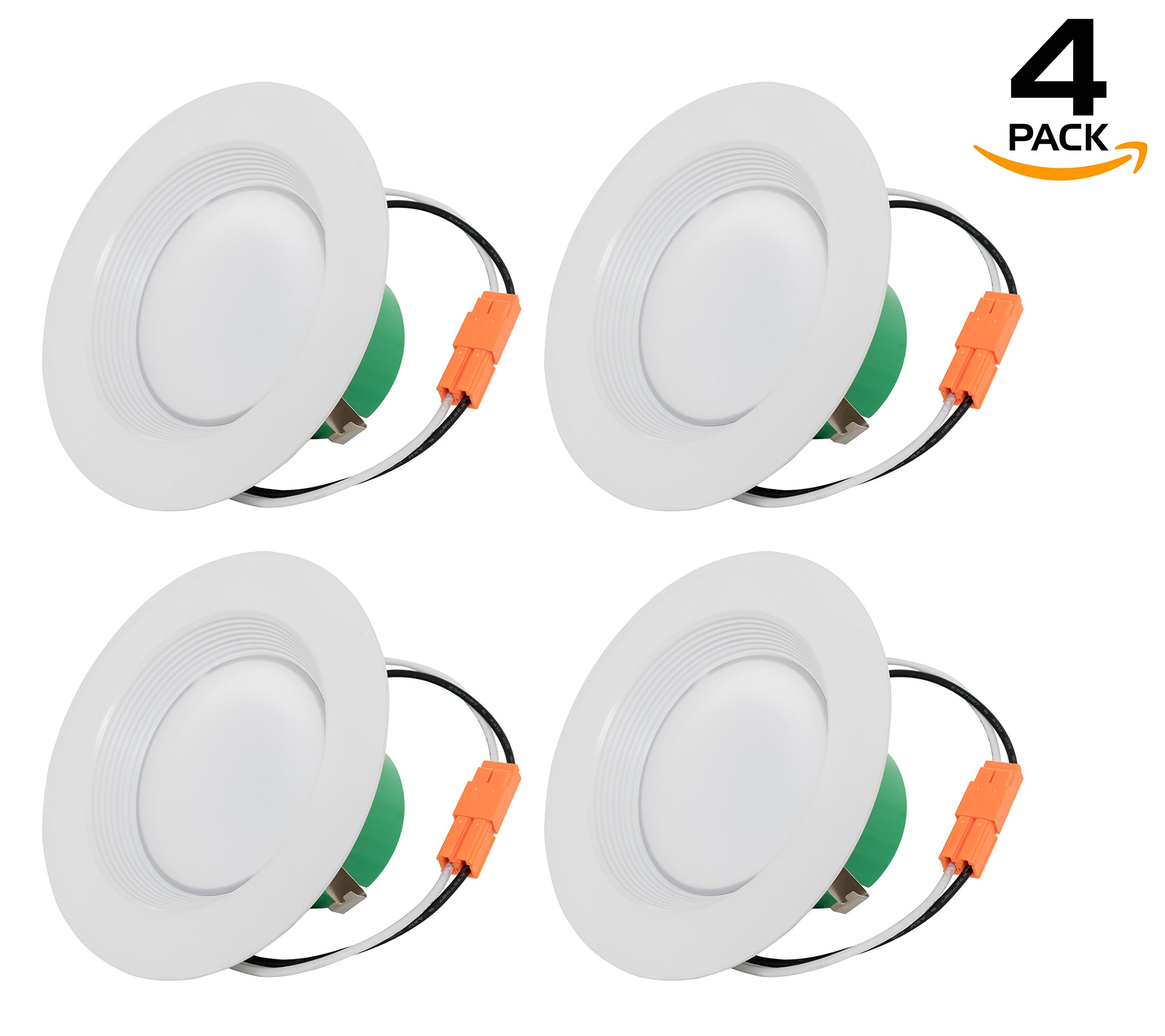 Westgate Lighting 10W 4 Inch LED Retrofit Recessed Downlight with Integrated Baffle Trim, Dimmable LED Recessed Light - Best Ceiling Light for Home, Office, Kitchen, 120V (4 Pack, 3000K Soft White)