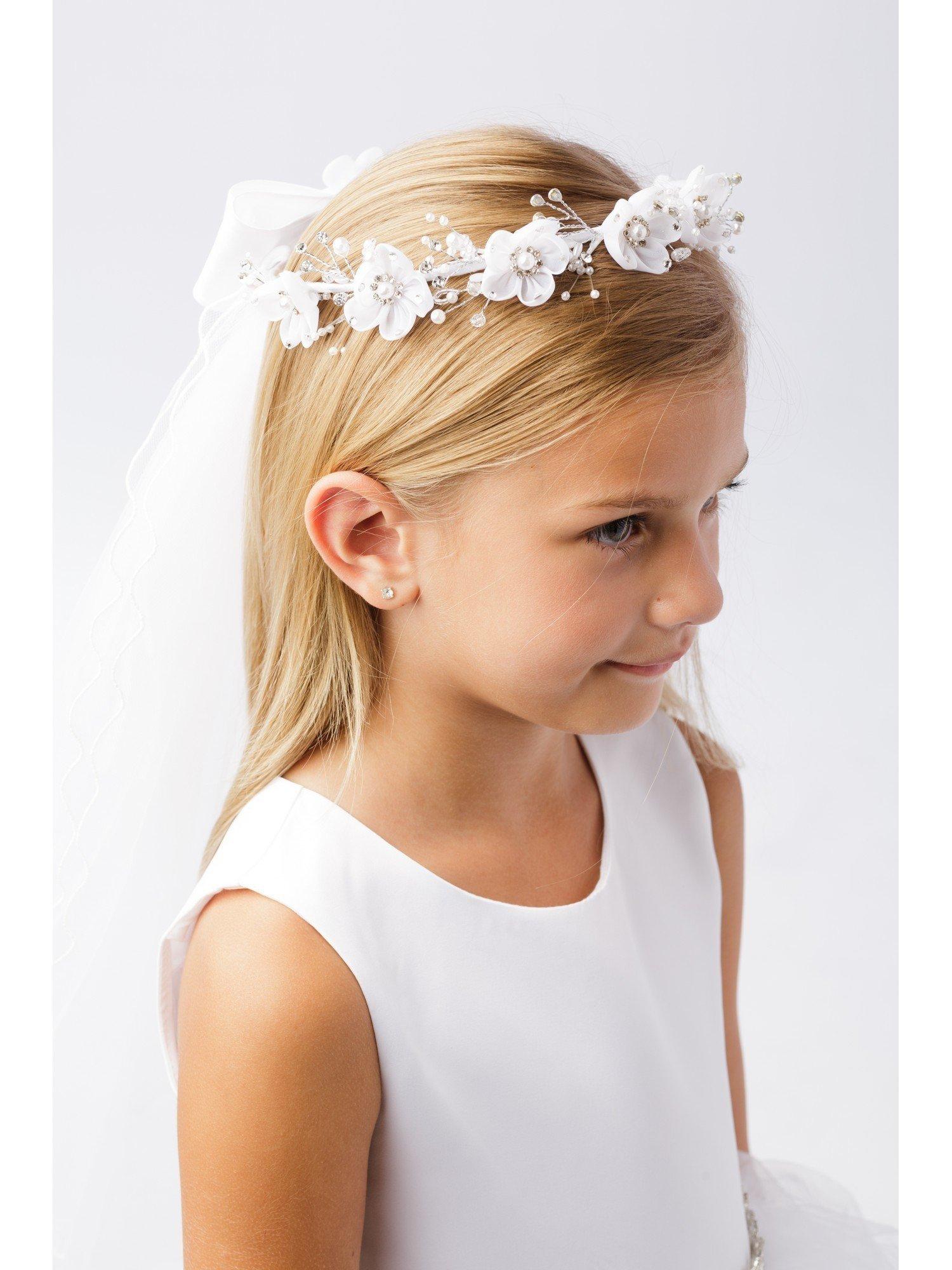 Girls White Pearl Rhinestone Center Floral Crown Communion Flower Girl Veil
