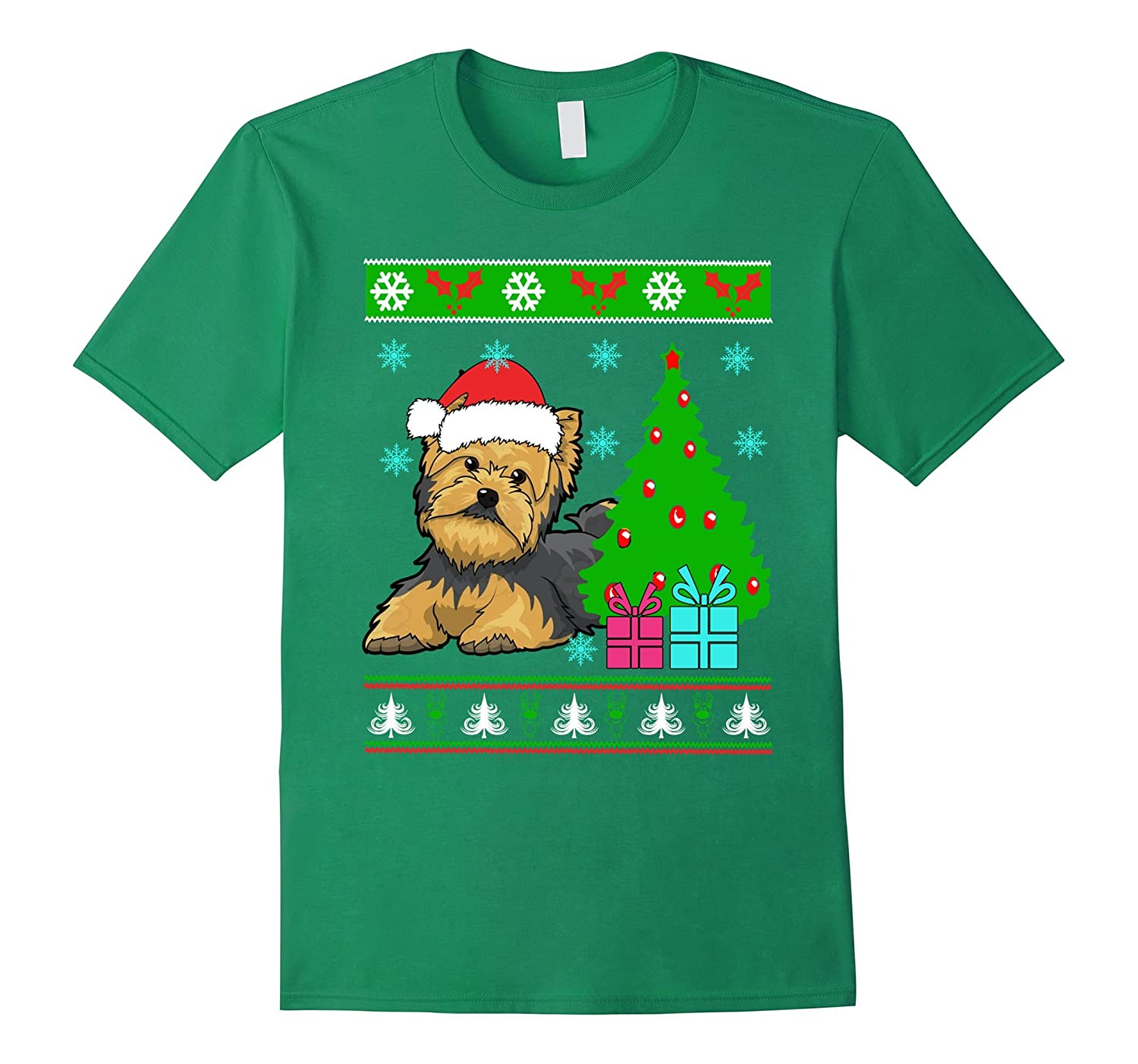 Yorkies Dog Ugly Christmas Nice Tshirt for Dog Lover-TD