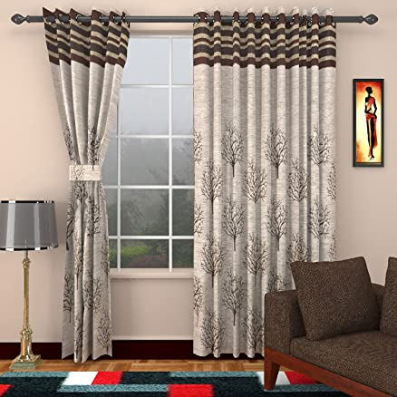 Charming Sharda Modern Jute Door Curtains (Set Of 2)  9 Feet X 4 Feet
