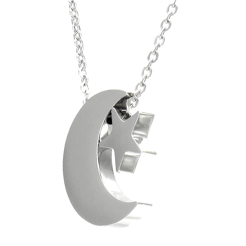 Collar//Gargantilla//Colgante con Cadena Luna Invertida TEMPUS FUGIT Inalterable por el uso Amuleto o Talism/án Acero inoxidable Antial/érgico Brillante