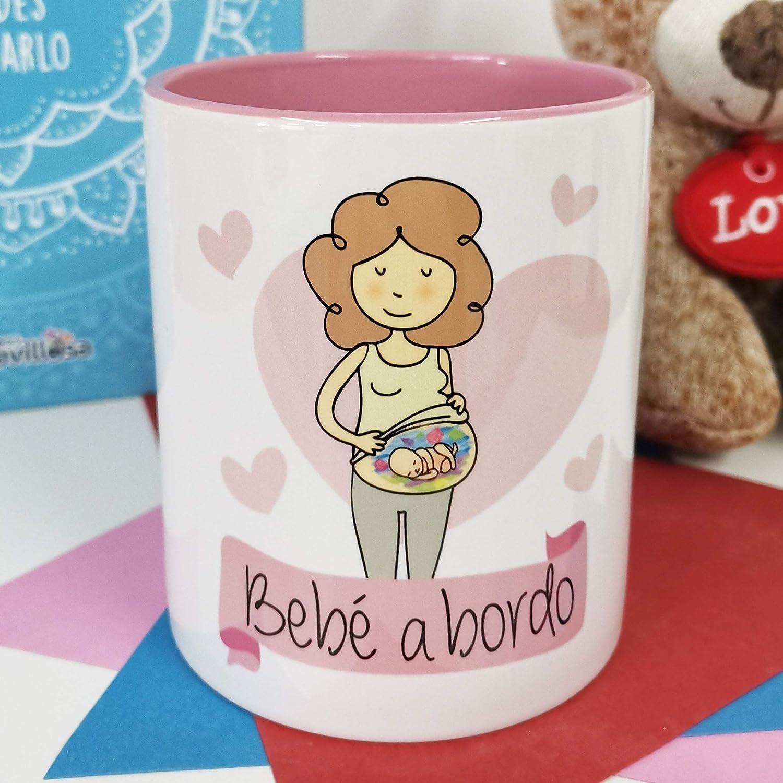 La Mente es Maravillosa - Taza con frase y dibujo divertido (Bebé a bordo) Regalo original para FUTURA MAMÁ