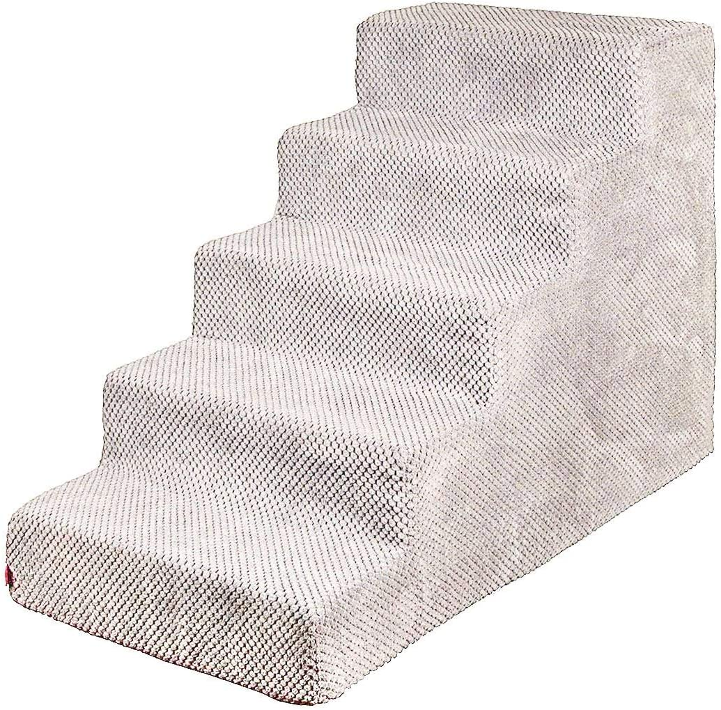 3 steps for bed and car colour: Dark Grey plush cover cat stairs pet stairs dogs cats pet stairs for small dog BoutiqueZOO Dog stairs 30 cm high