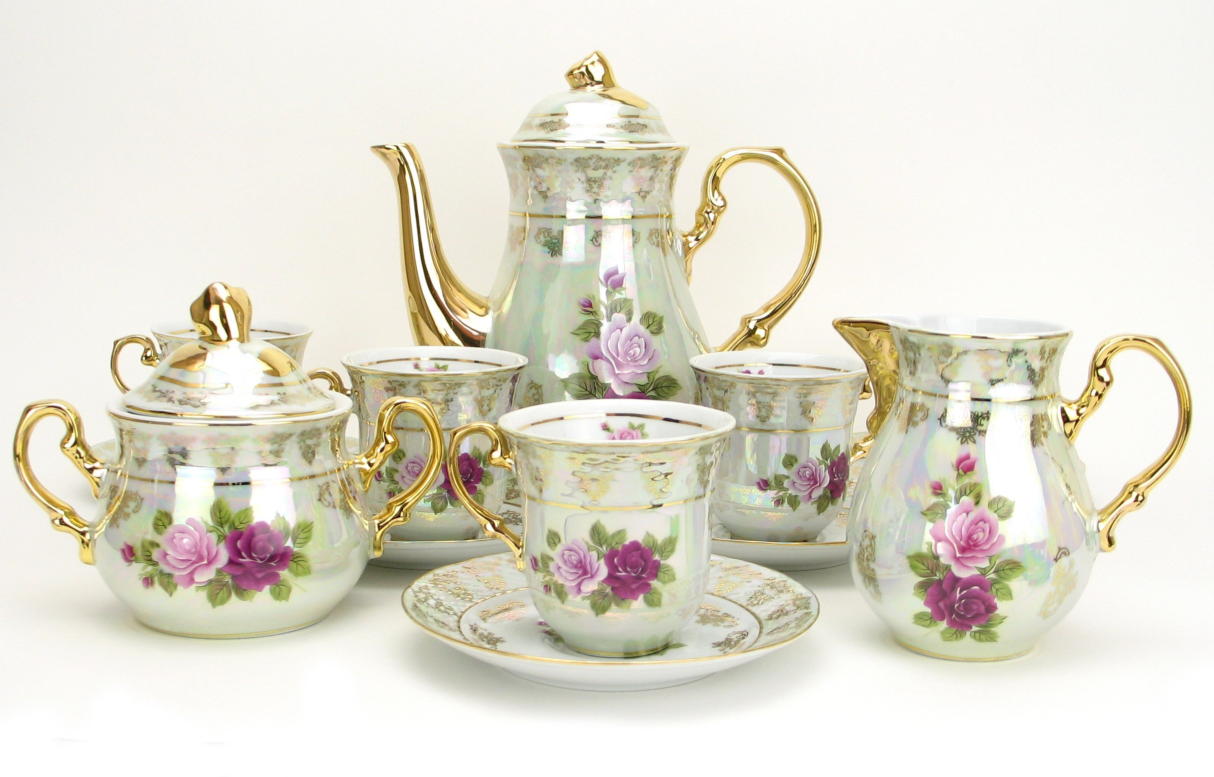 Euro Porcelain 17-Pc. Vintage Pink & Red Roses Tea Cup Coffee Set, White Pearlescent Floral Pattern with 24K Gold-Plated, Complete Service for 6, Original Czech Tableware