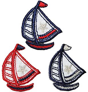Segelboot applikation  Segelboot 4,3 cm * 5,1 cm Bügelbild Aufnäher Applikation - Schiff ...