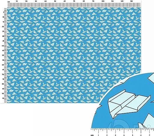 Full de aviones de papel, tela de algodón, metro lineal (140 x 100 cm), color blanco, negro y gris: Amazon.es: Hogar