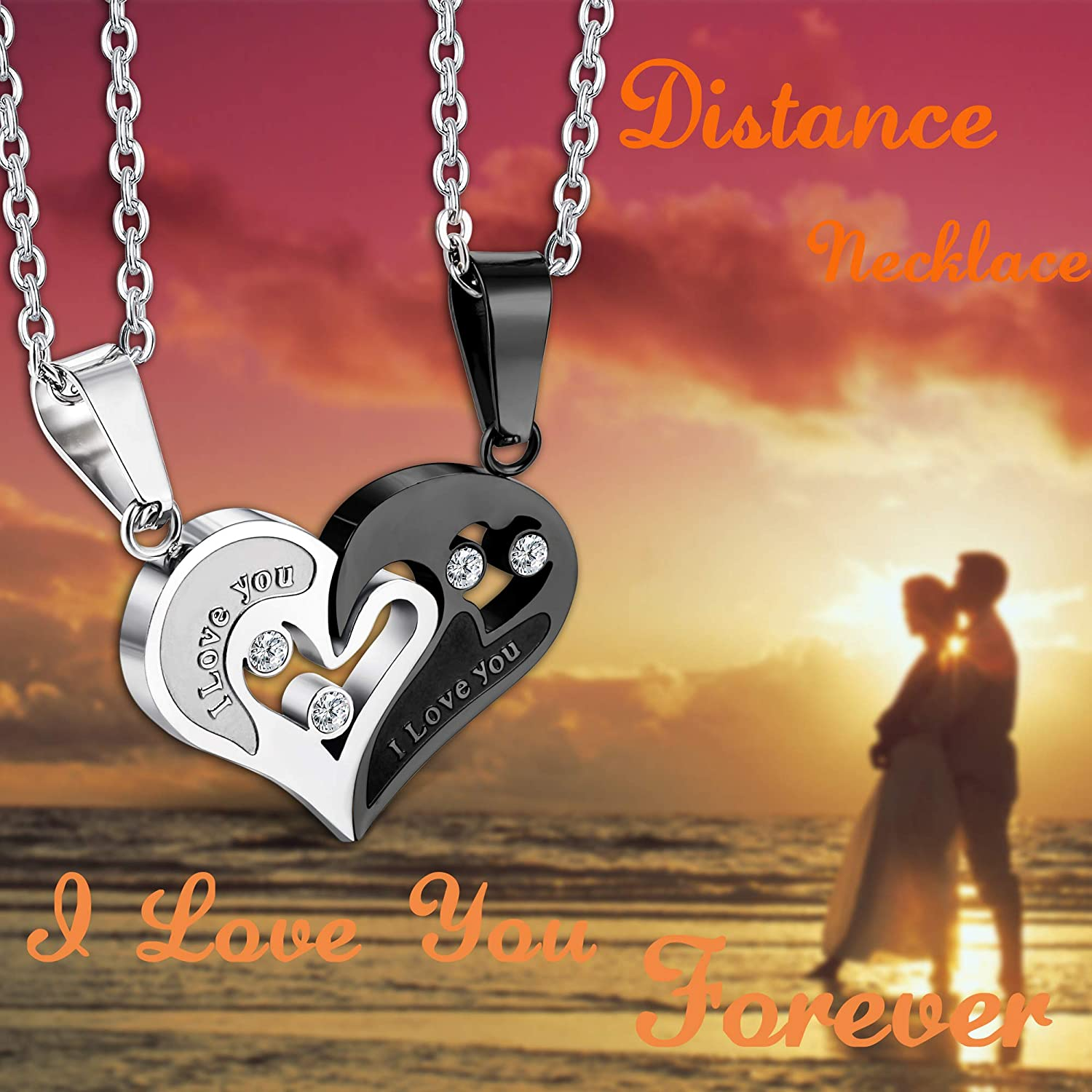 Man and Woman Romantic Couple Sweethearts Love Jump Ring Charm Pendant Necklace #14K Gold Plated over 925 Sterling Silver #Azaggi N0399G