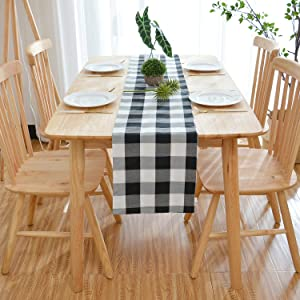 """NATUS WEAVER 100% Cotton Black & White 2 Side Buffalo Check Farmhouse Table Runner for Family Dinners or Gatherings, Indoor or Outdoor Parties, Everyday Use (12"""" x 48"""")"""