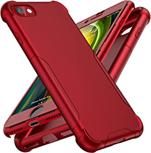 Designed for iPhone SE 2020 Case, ORETech Designed for iPhone SE 2020/7/8 Case with[2 x Tempered Glass Screen Protector]360° Heavy Duty Anti-Scratch Hard PC Silicone Case for iPhone SE Cover-4.7''-Red