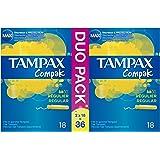 Tampax Compak Régulier 36 Tampons avec Applicateur en Plastique