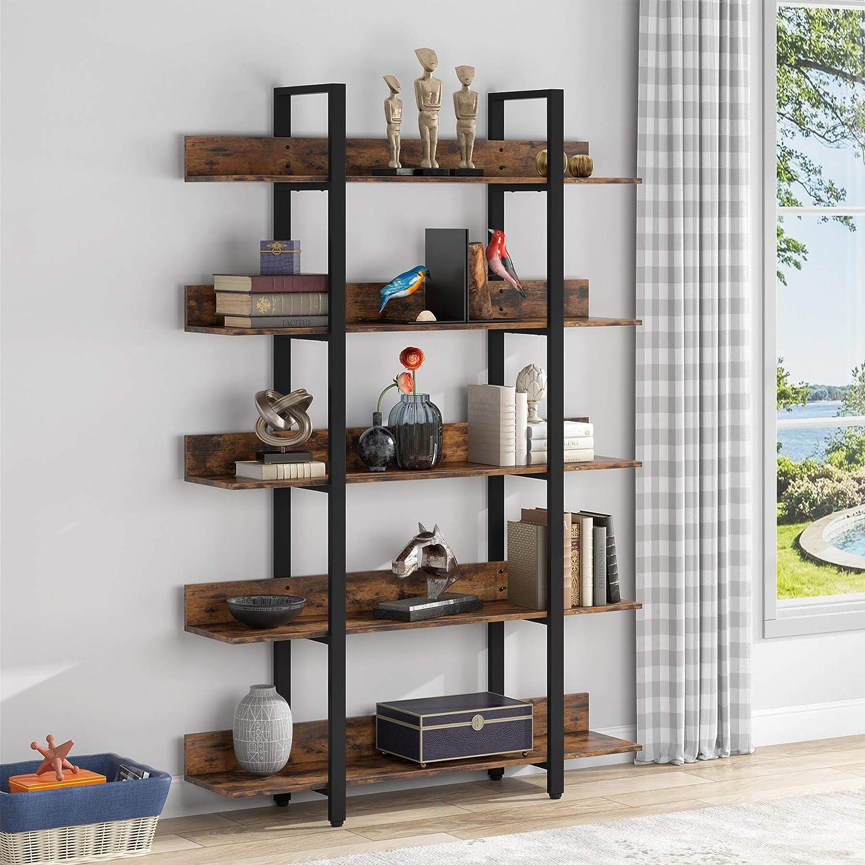 LITTLE TREE 5-Tier Bookshelf, Industrial 5-Shelf Etagere Bookcase, Freestanding Vintage Open Storage Display Shelf Unit, Wood Look Furniture for Home Office Study