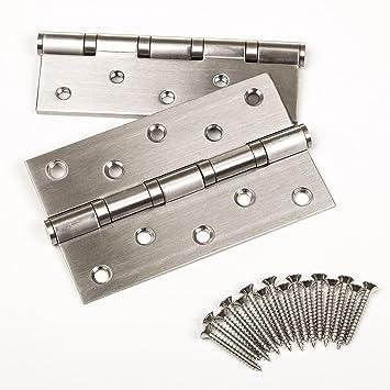 2 piezas SO-TECH® 127 mm Bisagra de Puerta Acero Inoxidable Rodamiento de bolas con Tornillos de Acero Inox/Capacidad de carga 75 kg / 2 Tamaños / 127 ...