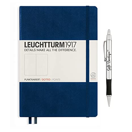 Leuchtturm1917 Medium Size Hardcover A5 Navy Notebook   Dotted Pages With  Gift Boutique Pen