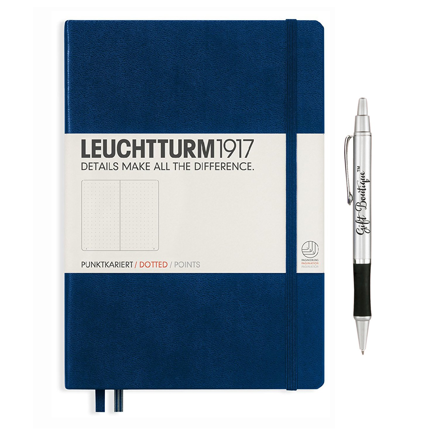 Leuchtturm1917 Medium Size Hardcover A5 Navy Notebook - Dotted Pages with Gift Boutique Pen