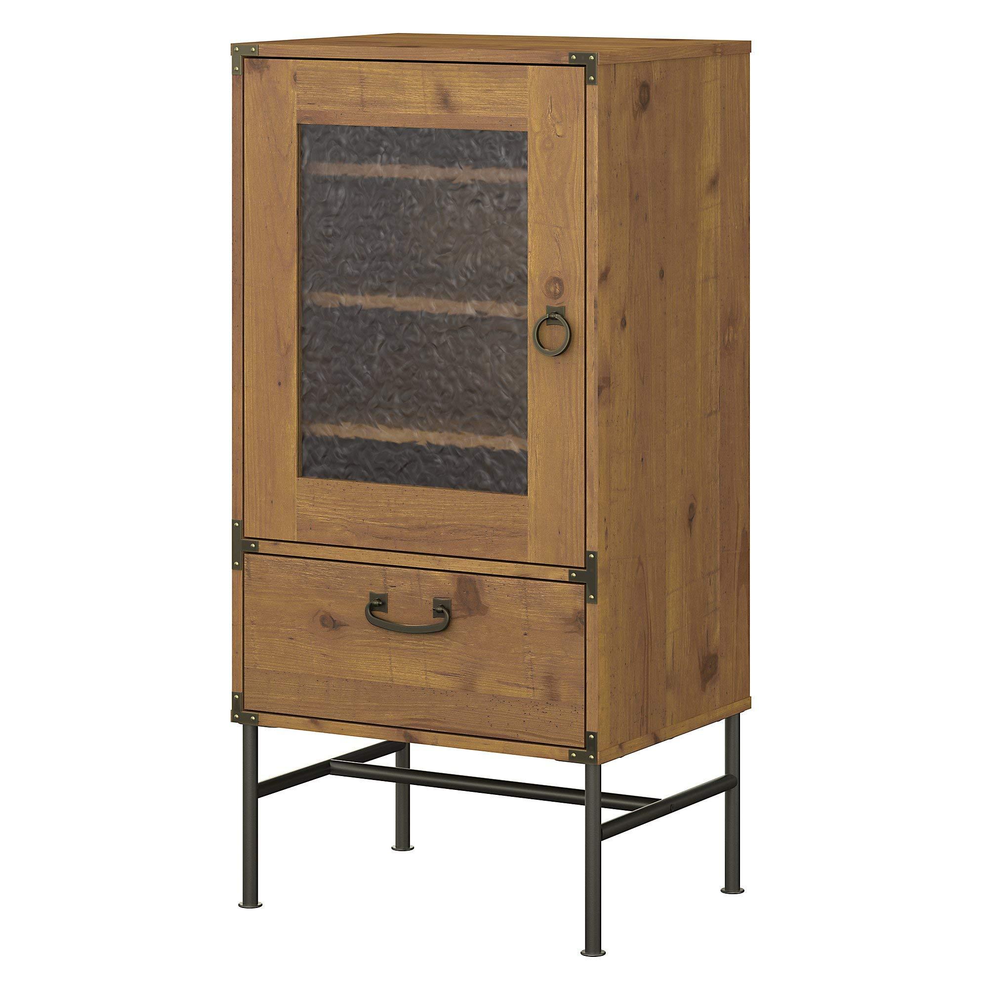 kathy ireland Home by Bush Furniture Ironworks Audio Storage Cabinet in Vintage Golden Pine by kathy ireland Home by Bush Furniture