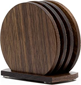 Walnut Wood & Cork Drink Coasters with Holder – Set of 4 Reversible Natural Round Wooden Coasters & Base for Absorbent Furniture Protection for Rustic Home and Office Décor – Perfect Housewarming Gift