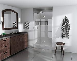 "Glass Warehouse Frameless Shower Door - Glass Hinge with Enduroshield Glass Coating 78"" x 40"" Brushed Nickel"