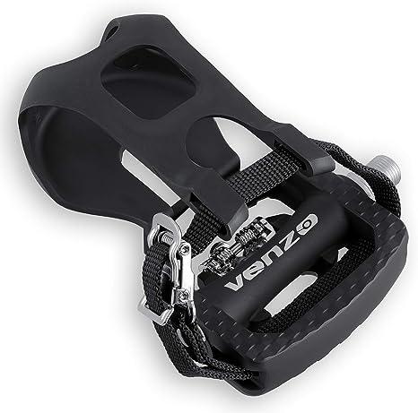 Venzo Fitness - Pedales compatibles con SPD para Bicicleta de Spinning, con Pinzas para los Dedos y Tacos: Amazon.es: Deportes y aire libre