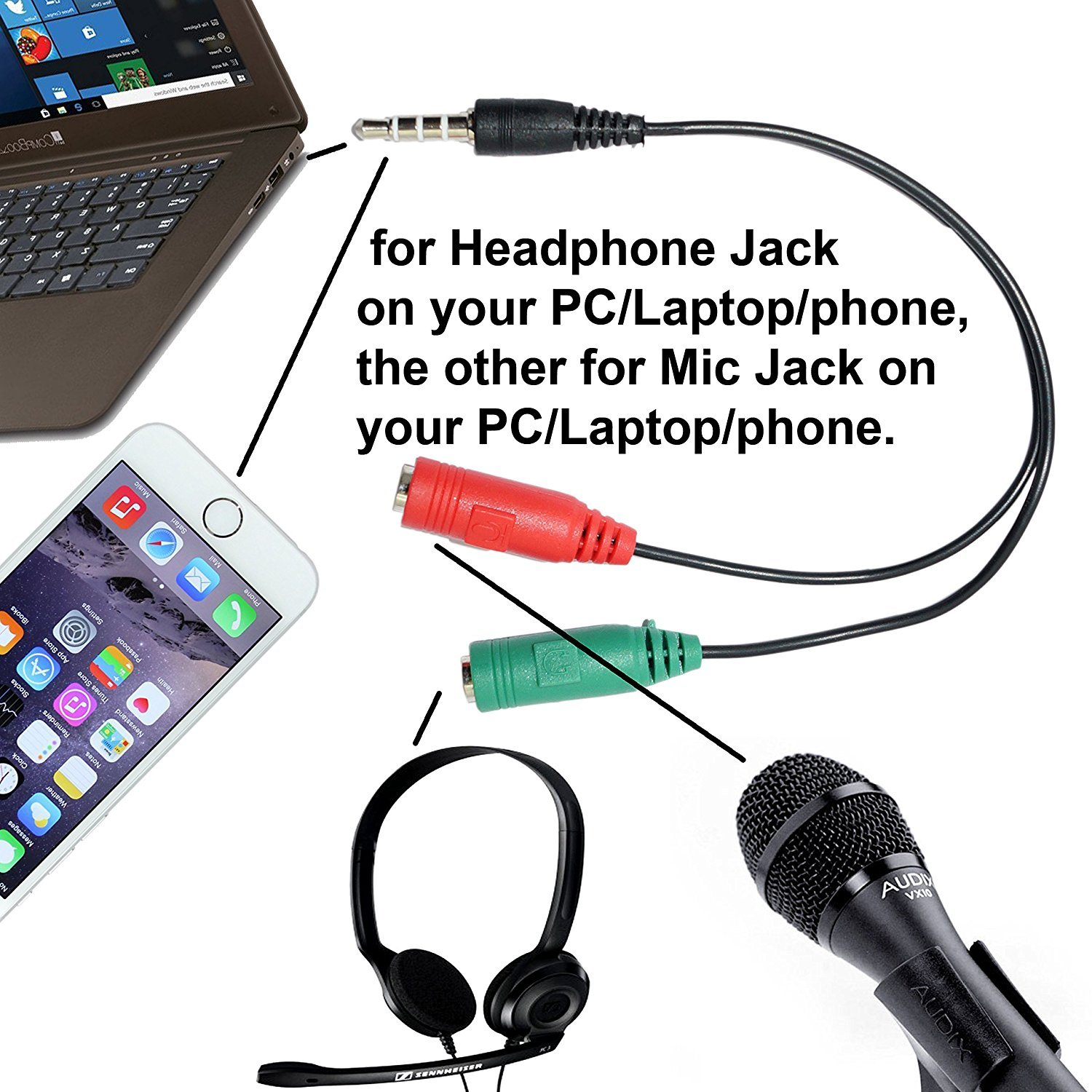 Buy Riatech 35mm Audio Jack To Headphone Microphone Splitter Wiring Diagram On Stereo As Well Converter Adaptor Cablemulticolour Online At Low Prices In India