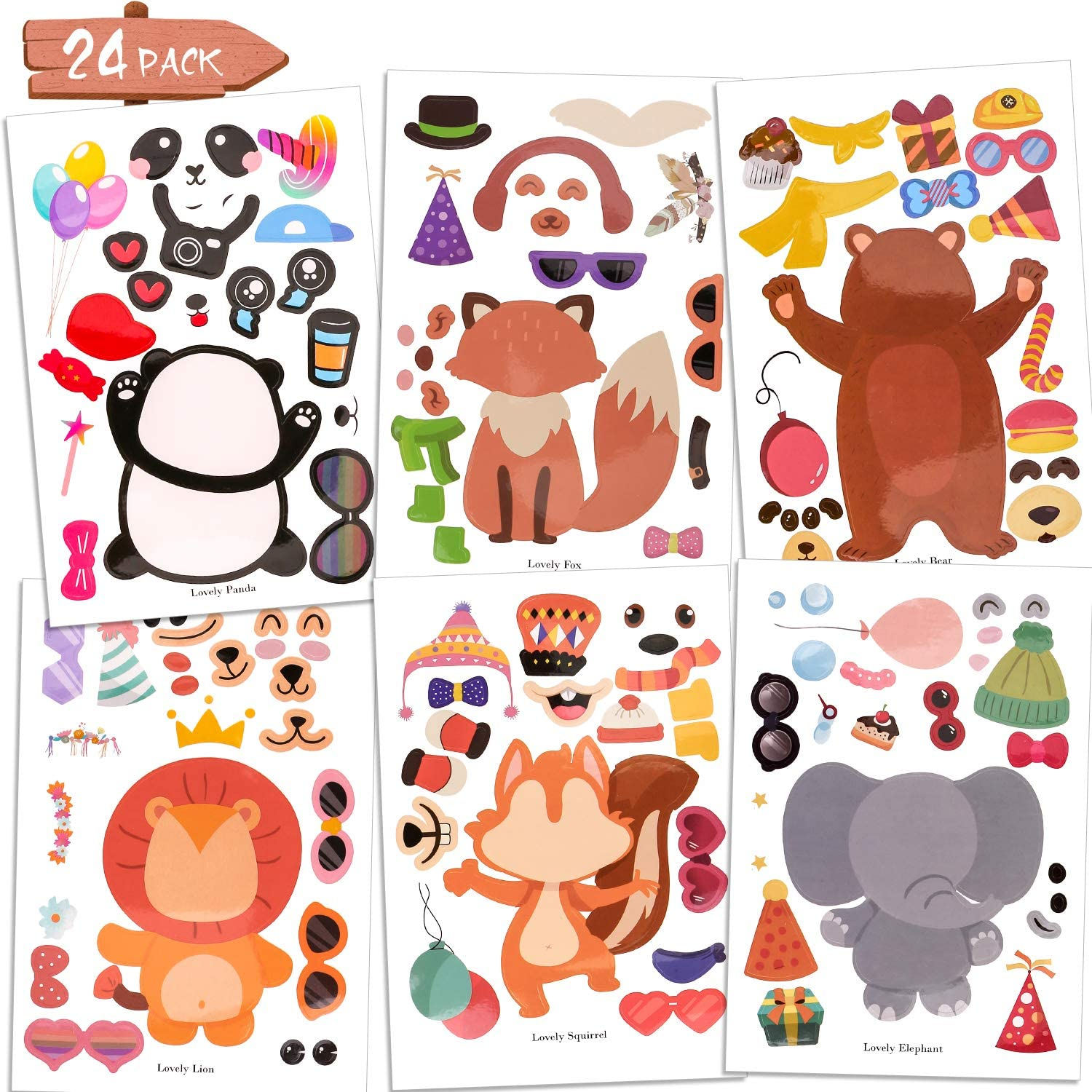 Konsait 24Pack Make-an-Animal Stickers Sheets,Make Your Own Sticker Safari Animal Sticker Zoo Birthday Party Favors Crafts Supplies