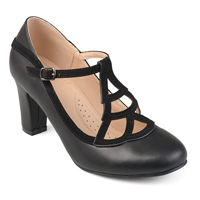 Women's 1920s Shoe Styles and History Journee Collection Womens Round Toe Vintage Comfort-Sole Two-Tone Lattice Mary Jane Pumps $54.99 AT vintagedancer.com
