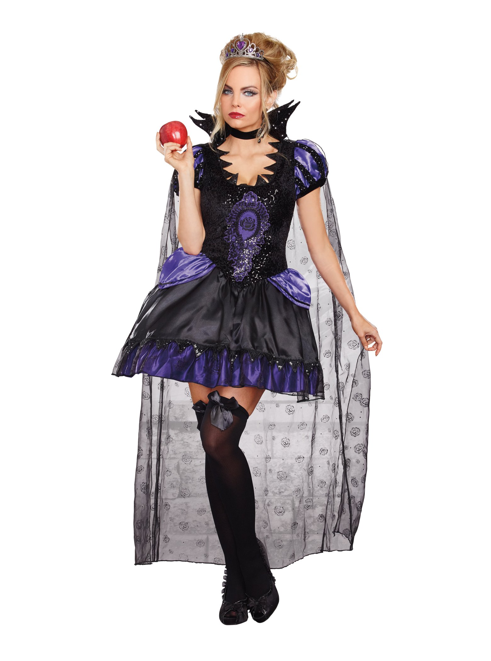 Dreamgirl Women's Evil Queen Costume, Black/Purple, Large