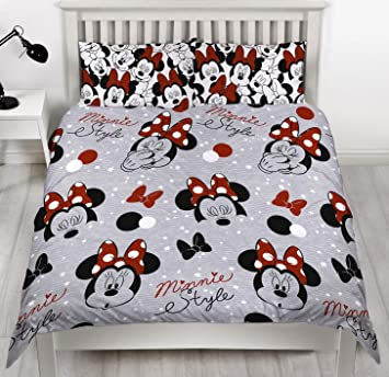 Disney Minnie Mouse Adorable Housse De Couette Parure De Lit Réversible Simple Double Multicolore Couette Double