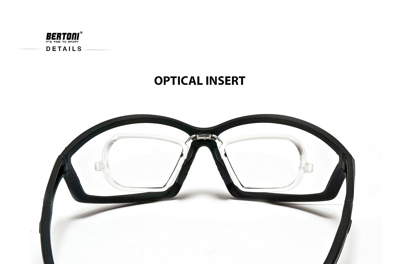 Sportbrille Sehstärke mit Adapter für brillenträger für Radsport Motorrad Ski Golf Lauf Running - by Bertoni Italy AF100 (Grau) - Windschutz für Brillenträger 87ErjgAkVx
