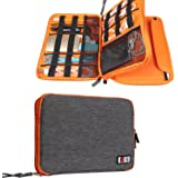 Travel Organizer, BUBM Universal Double Layer Travel Gear Organizer Storage Bag / Electronics Accessories Organizer / USB Cable Organizer Bag - Grey and Orange