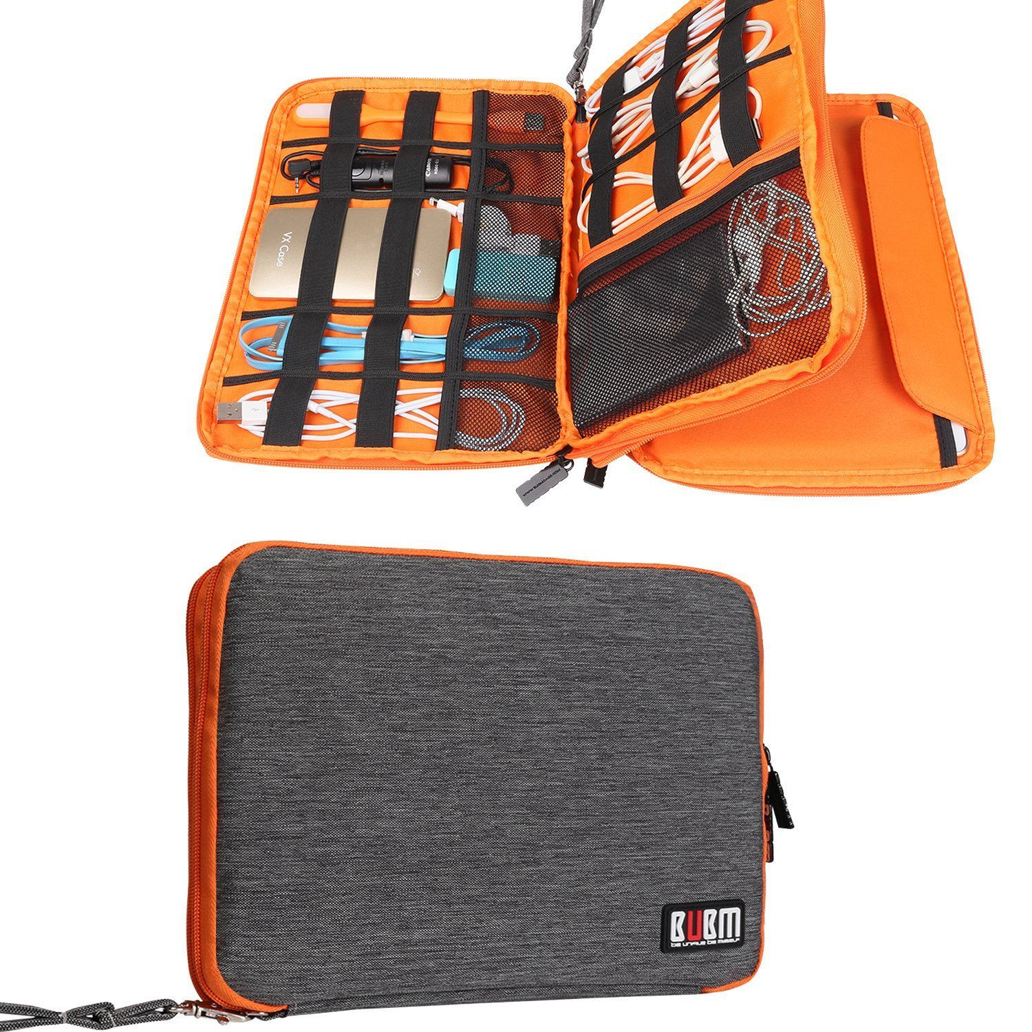 BUBM Travel Double Layer Gear Organizer Electronics Accessories Bag (L, Gray and Orange)