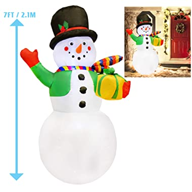 Joiedomi 7 Foot Snowman Inflatable with Present Gift Box LED Light Up Christmas Xmas for Blow Up Yard Decoration, Indoor Outdoor Garden Christmas Decoration