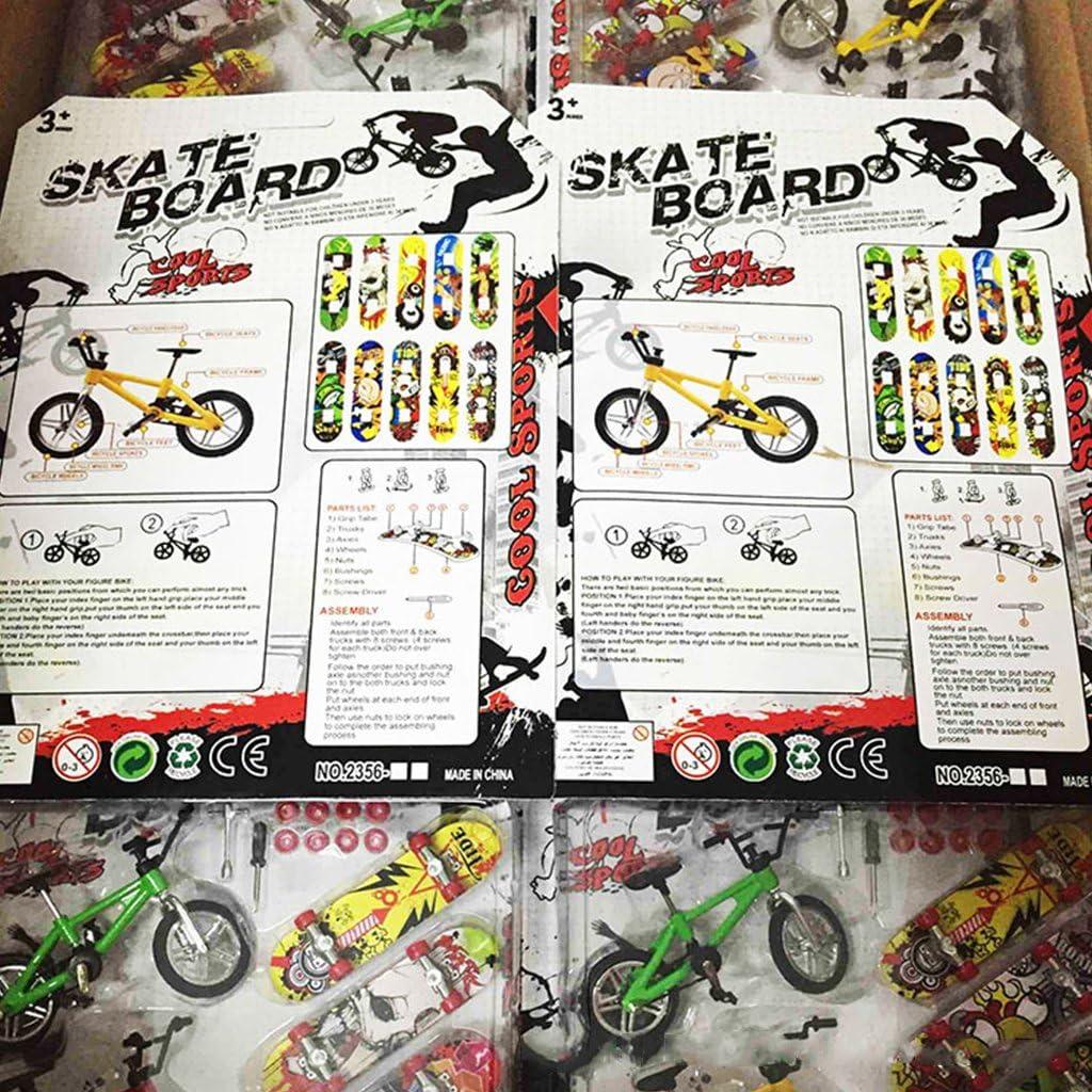 Sqiuxia 8Pcs Mini Finger Bike Bicycle /& Skateboard /& Swing Board Set Kids Children Finger Board Wheel Toys for Children Kids