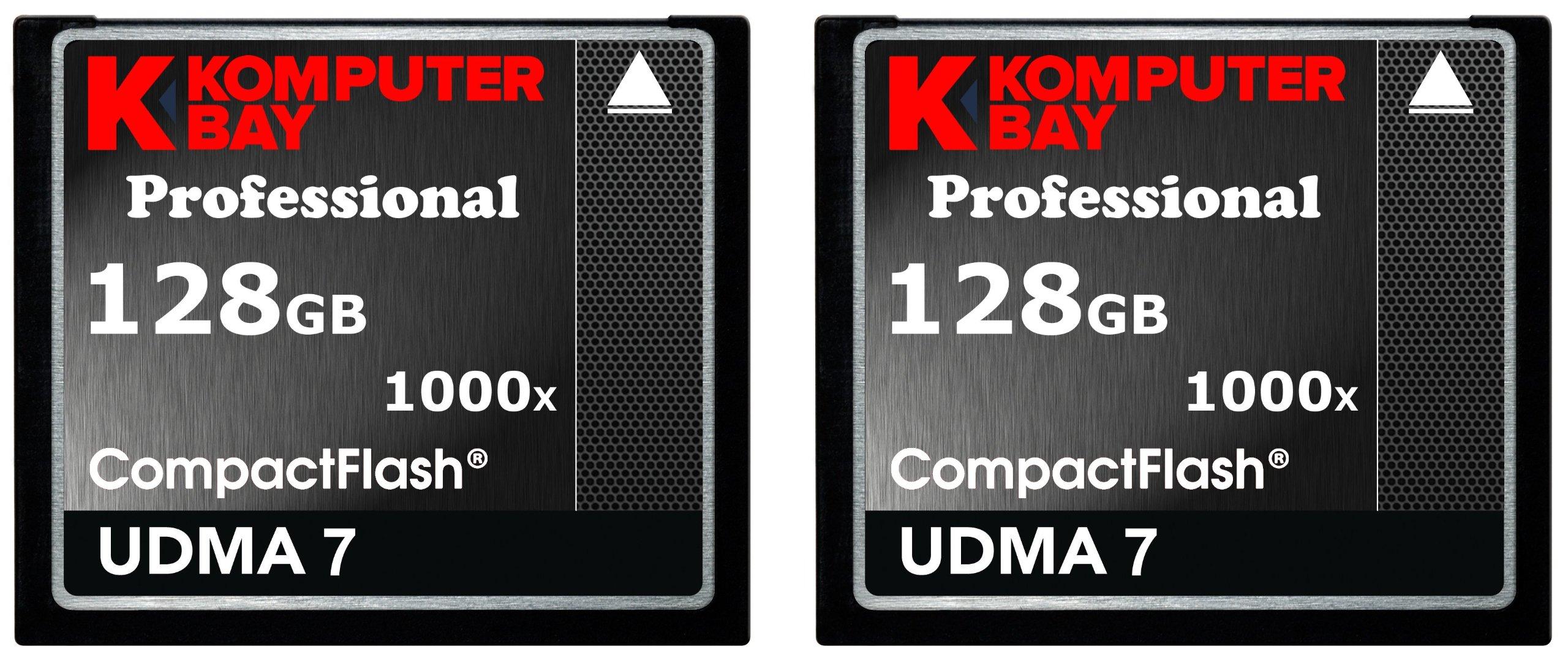 KOMPUTERBAY 2 PACK - 128GB Professional COMPACT FLASH CARD CF 1000X 150MB/s Extreme Speed UDMA 7 RAW 128 GB