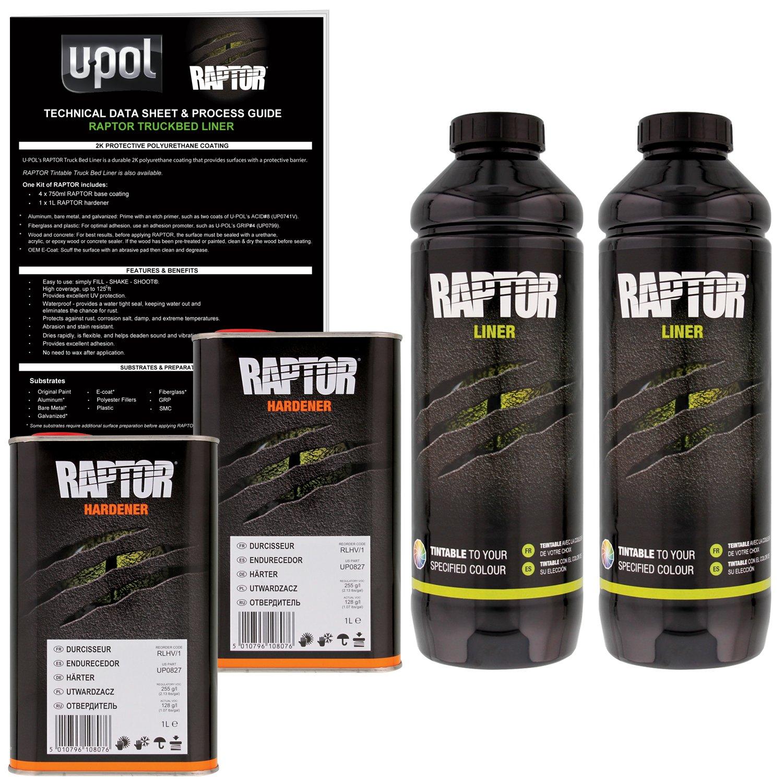 U-POL Raptor Tintable Urethane Spray-On Truck Bed Liner & Texture Coating, 2 Liters