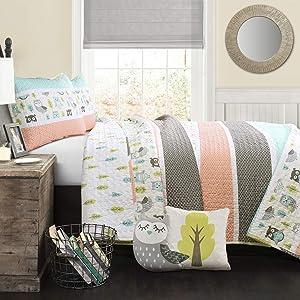 Lush Decor Owl Stripe 4 Piece Quilt Set, Twin, Coral & Turquoise