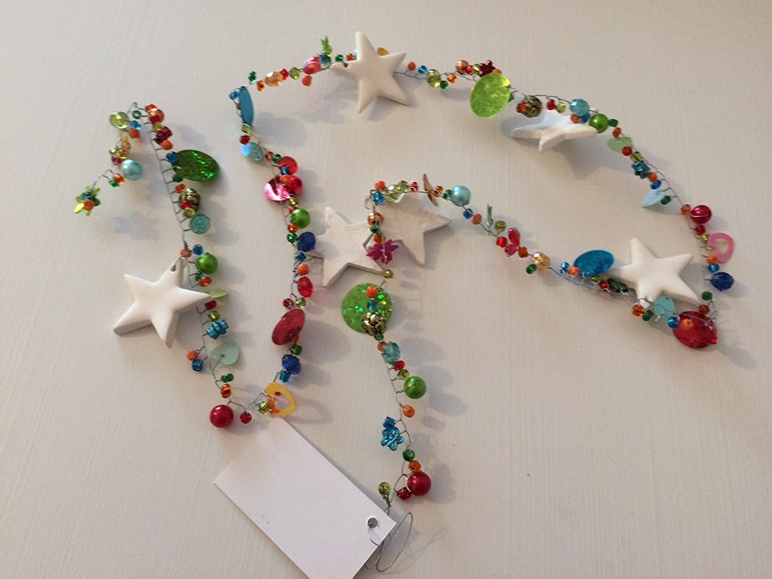 Bunting Bright Colourful Boho Sequin Bead and Star Christmas Garland