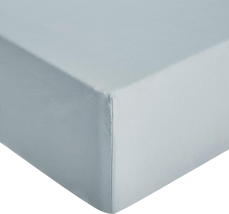 AmazonBasics - Sábana ajustable de microfibra premium (150 x 200 cm), azul spa
